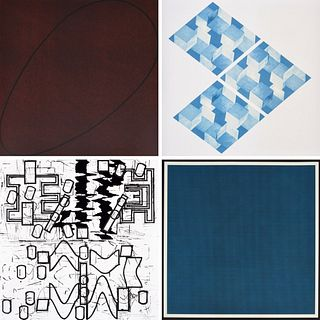 """4 x 4"" Portfolio: Mangold, Le Va, Lewitt, Bochner (4)"