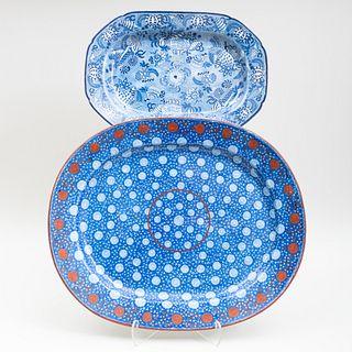 Two English Blue Transfer Printed Platters