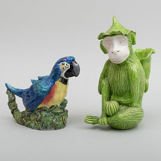 Staffordshire Porcelain Blue Macaw Form Teapot and a French Green Monkey Form Spill Vase