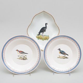 Pair of Creamware Soup Plates Decorated with Birds, Probably Dutch, and an English Pearlware Ornothological Shaped Dish