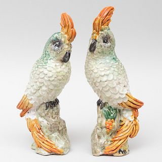 Pair of Continental Faience Sulpher Crested Cockatoos