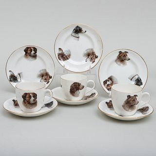 English Transfer Printed Porcelain Demitasse Trio Decorated with Dogs