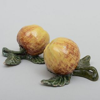 Pair of Dutch Delft Models of Apples on Fixed Leaf Stands