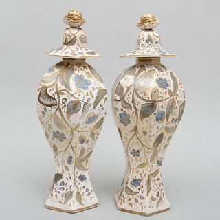 Pair of English Cream Ground Gilt Decorated Octagonal Vases and Covers