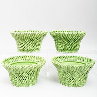 Set of Four Italian Mottahedeh Green Glazed Porcelain Jardinières