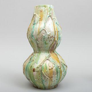 Pottery Splatterware Double Gourd Form Vase