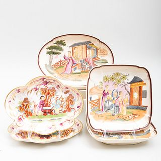 Group of English Porcelain Chinoiserie Serving Wares