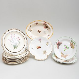 Assembled Group of Wedgwood Creamwares Decorated with Insects and Flowers