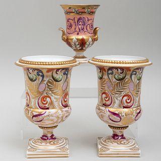 Pair of Derby Porcelain Vases and a Smaller Vase