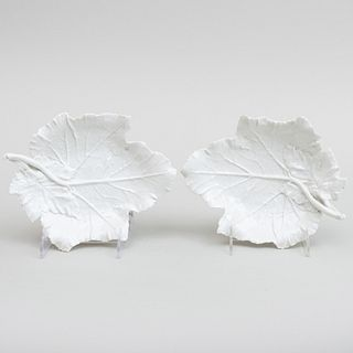 Pair of Berlin White Porcelain Leaf Shaped Dishes