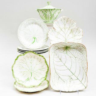 Group of Wedgwood Pearlware and Porcelain Leaf Form Dishes and a Similar Sauce Tureen
