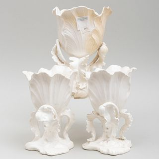 Three Piece Creamware Tulip Form Garniture