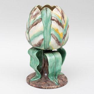English Majolica Tulip Form Vase