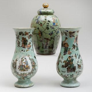 Pair of Chinoiserie Green Ground Decalcomania Vases and a Jar and Cover