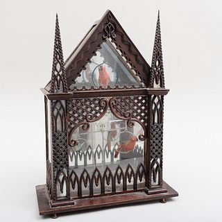 Neo-Gothic Stained Wood, Mirror and Glass Model of a Birdcage