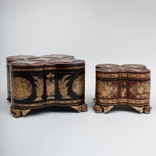 Pair of Chinese Export Shaped Lacquer Tea Caddies