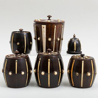 Five Anglo Indian Bone Mounted Wooden Tobacco Barrels and a Similar Finial