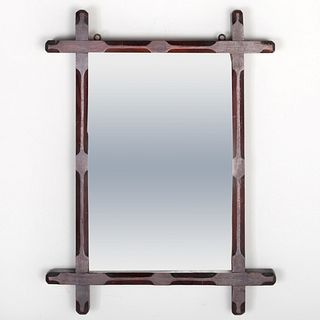 Small Rustic Stained Wood Mirror