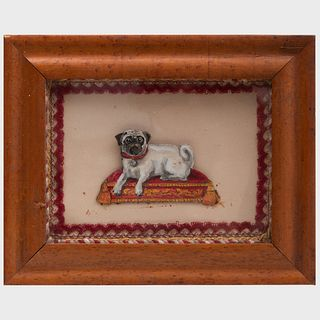 Victorian Cut Paper Watercolor Silhouette of a Pug on a Cushion