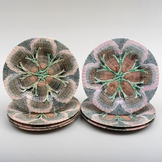 Group of Seven Etruscan Majolica Shell and Seaweed Plates