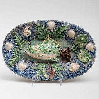 Palissy Ware Style Oval Dish Decorated with a Fish and Shells