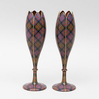 Pair Scottish Cameron Tartan Ware Spill Vases