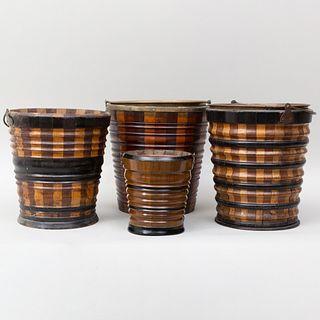 Four Dutch Ebonized and Mahogany and Fruitwood Peat Buckets
