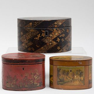 Two Oval Tea Caddies and an Oval Box