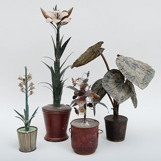 Group of Four Polychrome Painted Tole Models of Potted Plants