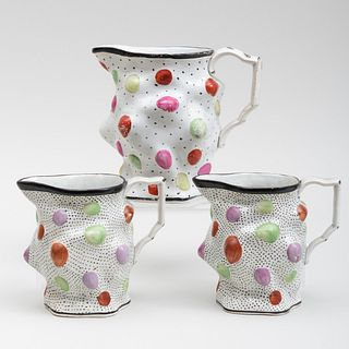 Three English Pearlware Jugs, Decorated with Gems