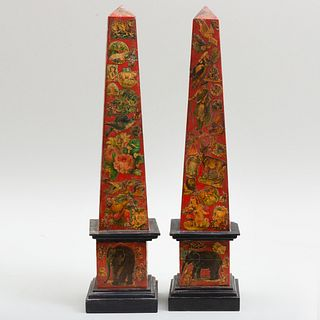 Pair of Decalcomania Decorated Red Painted Stone Obelisks