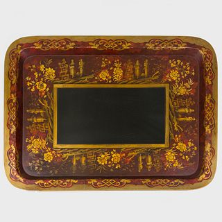 Large Victorian Red and Black Painted and Parcel-Gilt Papier Maché Tray