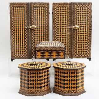 Group of Modern Indian Octagonal Geometrically Painted Boxes and Cabinets