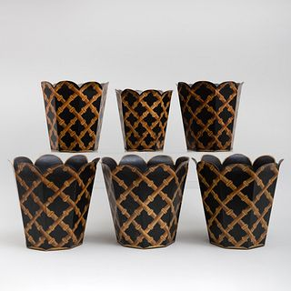 Set of Five Faux Bamboo Tole Painted Wastebaskets in Graduated Sizes