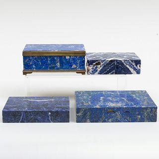 Four Lapis Lazuli Table Boxes
