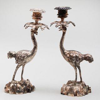 Pair of Silvered-Metal Ostrich Candlesticks