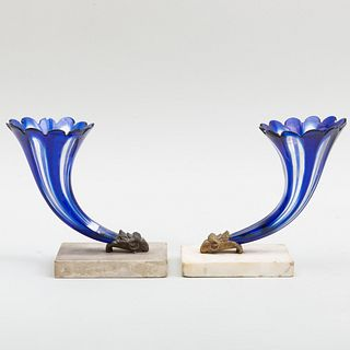Two Gilt-Metal Mounted Cased Glass Cornucopia Form Spill Vases on Marble Bases