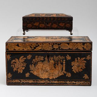 Two  Penwork Chinoiserie Decorated Boxes