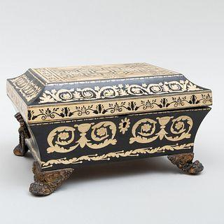Regency Style Gilt-Metal-Mounted Penwork Table Box