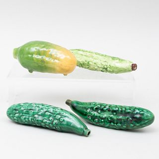 Group of Four Majolica Pickle Flasks