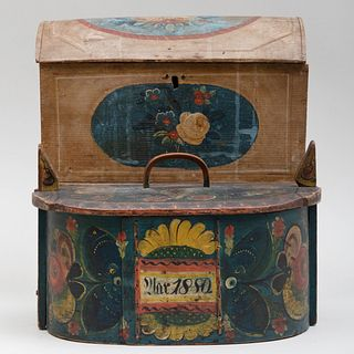 Two Scandinavian Polychrome Painted Wood Boxes