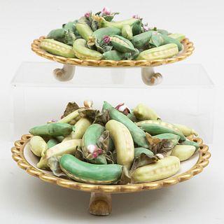 Pair of Italian Mottahedeh Trompe L'Oeil Models of Peas