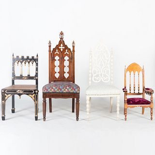 Group of Four Victorian Neo-Gothic Chairs