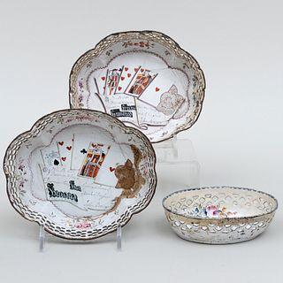 Pair of Staffordshire Enamel Trompe L'Oeil Pierced Baskets