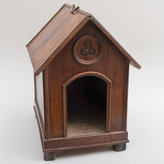 Neo-Gothic Walnut and Pine Doghouse