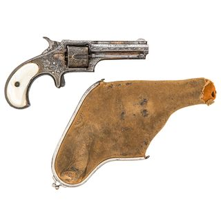 Engraved Remington Smoot Model #2 Revolver With Purse Holster