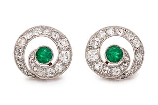 ANTIQUE, EMERALD AND DIAMOND SWIRL EARRINGS