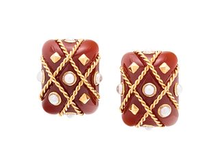SEAMAN SCHEPPS, CARNELIAN AND CULTURED PEARL 'CAGE' EARCLIPS