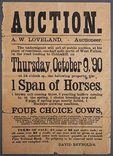 1890 Broadside, Farm Auction Advertisement