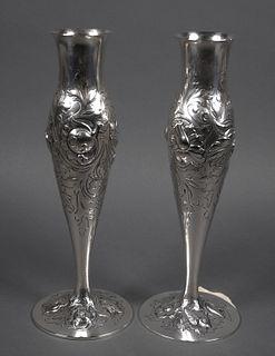 Pair THUNE Oslo 830 Silver Flower Vases